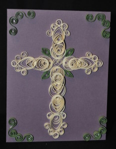 Quilling with the paper pricing tool. Very Vanilla, Perfect Plum, Pear Pizzazz card stock.